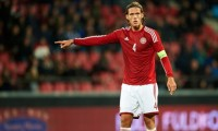 AALBORG, DENMARK - OKTOBER 10: Jannik Vestergaard of Denmark giving instructions during the EURO 2016 U21 Play-off match between Denmark and Island at Aalborg Stadium on Oktober 10, 2014 in Aalborg, Denmark. (Photo by Jan Christensen / FrontzoneSport via Getty Images)