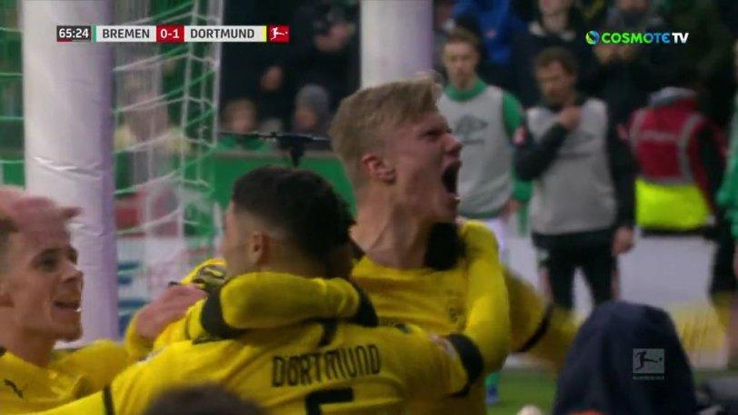 Βέρντερ - Ντόρτμουντ: Ο Χάαλαντ έφτασε πρώτος τα 40 γκολ στην χρονιά (vid)